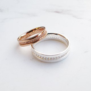 Big staff Taipa [love couple ring] Tibetan love × sterling silver × rose gold zircon couple ring (pair)
