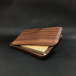 Side sliding cover card case Walnut customized engraving English name