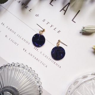 La Don - Stone Disc - Dark Blue Black Ear Pins
