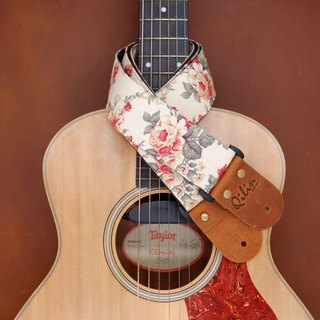 Red Fabric Flower Guitar Strap