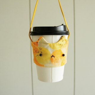 Lovely [Japanese cloth] animal hair ball comet drink cup bag, cat cup set, drink cup set