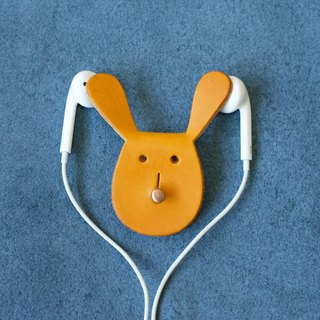Leather Earphone Wrap / Headphone Holder / Cable Organizer / Cable Tidy - Yellow