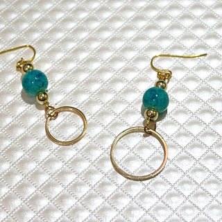 Alloy <Blue Fire Ring>_Hook Earrings <<Asymmetric Style>> => Limited X1