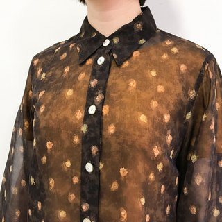 …{DOTTORI :: TOP}Brown Long-Sleeved Translucent Shirt with Dots