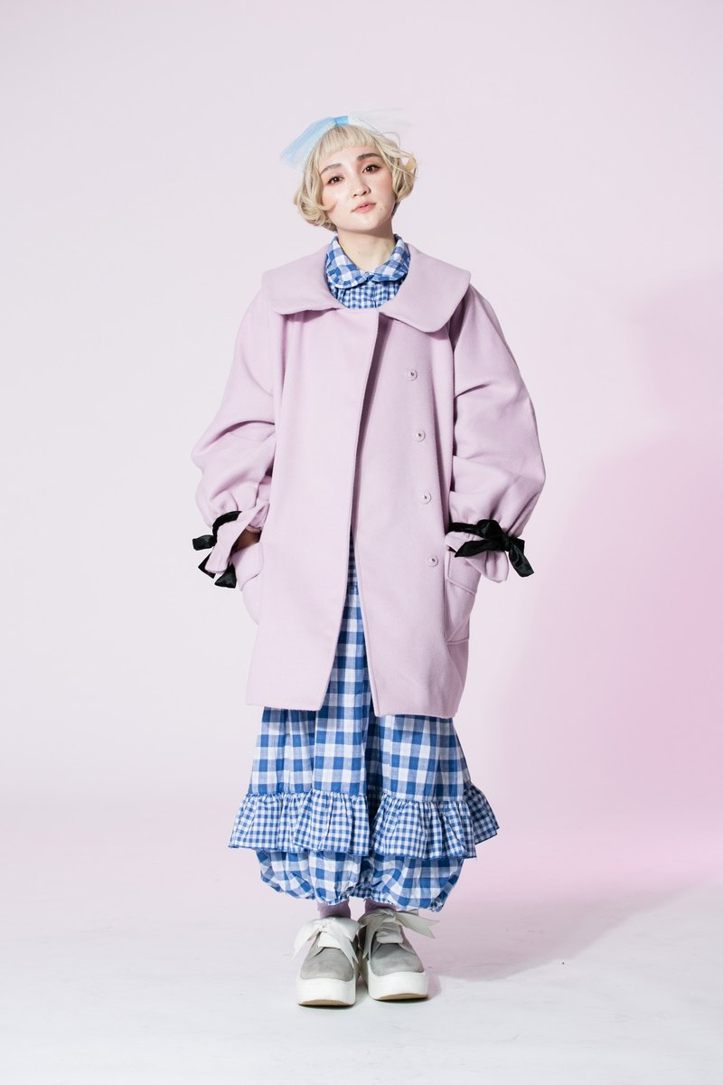 : EMPHASIZE cuff velvet bow tie wool coat - pink and purple