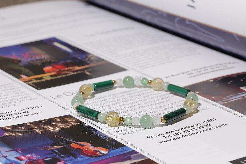 綠意盎然彈性手鍊 孔雀石黃髮晶綠東陵月光石天然石手鍊