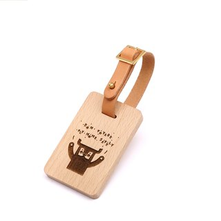 Wooden luggage tag - buffalo - European beech style