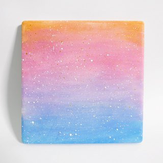Starry Hand Painted Coaster / Pastel Gradient (Square)
