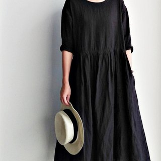 Drawstring two dress black linen