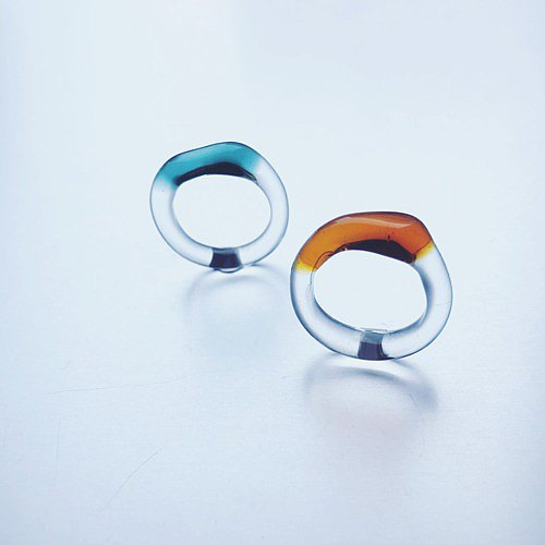 Trapèze shaped Colored Ring / Amber and Green