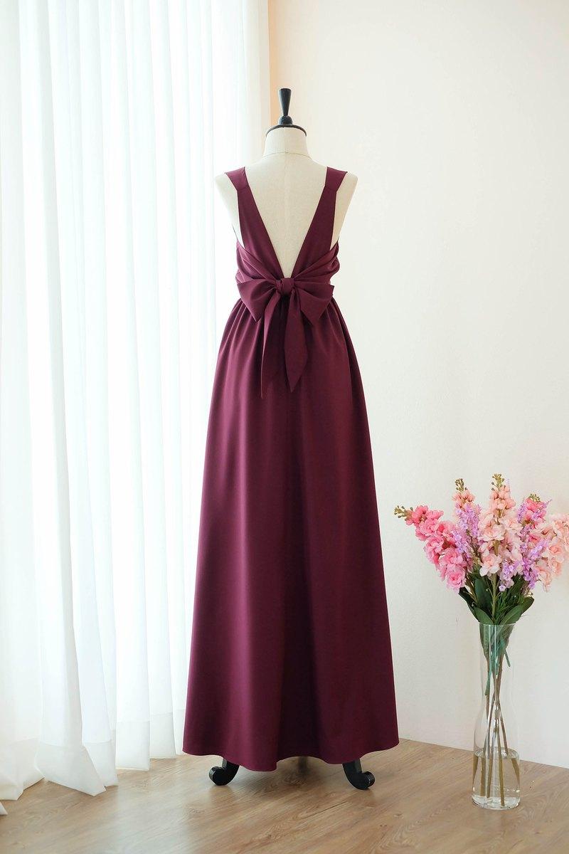 栗色紅色伴娘禮服露背雞尾酒禮服