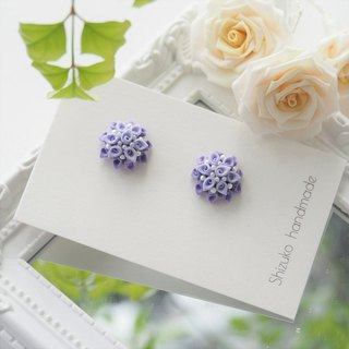 Pure Hand Dye Shades of Purple Fabric Floral Earrings Clip-on 14KGF, S925 custom