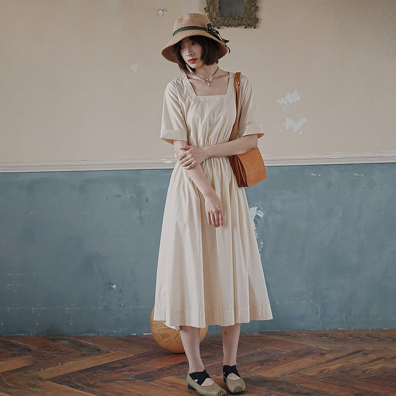 French Square Collar Dress-Apricot|Dress|Dress|Summer|Cotton|Sora-519