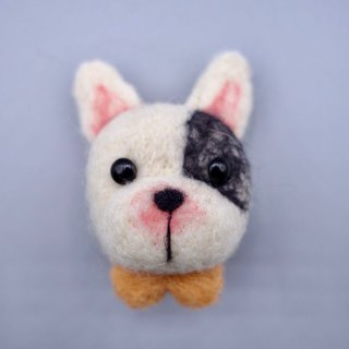 Wool felt dog head necklace / ornaments