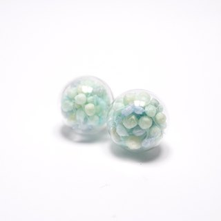 A Handmade Difufenni Xia grass blue glass ball earrings