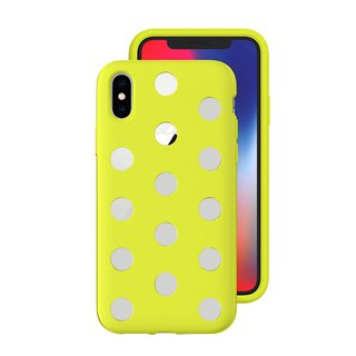 AndMesh-iPhone Xs Dot Double Layer Anti-collision Cover - Lime Yellow (4571384959070