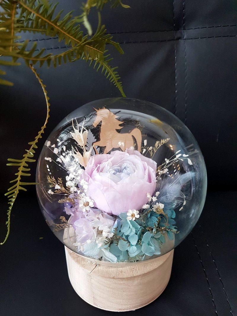 Haizang design │ dream. Unicorn forest. Everlasting flower large glass ball crystal ball glass cover