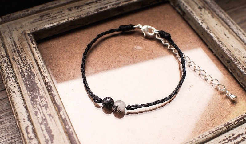 LIULIUYA 【style】 black hair crystal silk wax braided bracelet