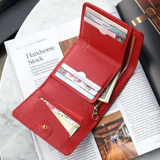 PLEPIC leather tri-fold short wallet - Venice red, PPC93648