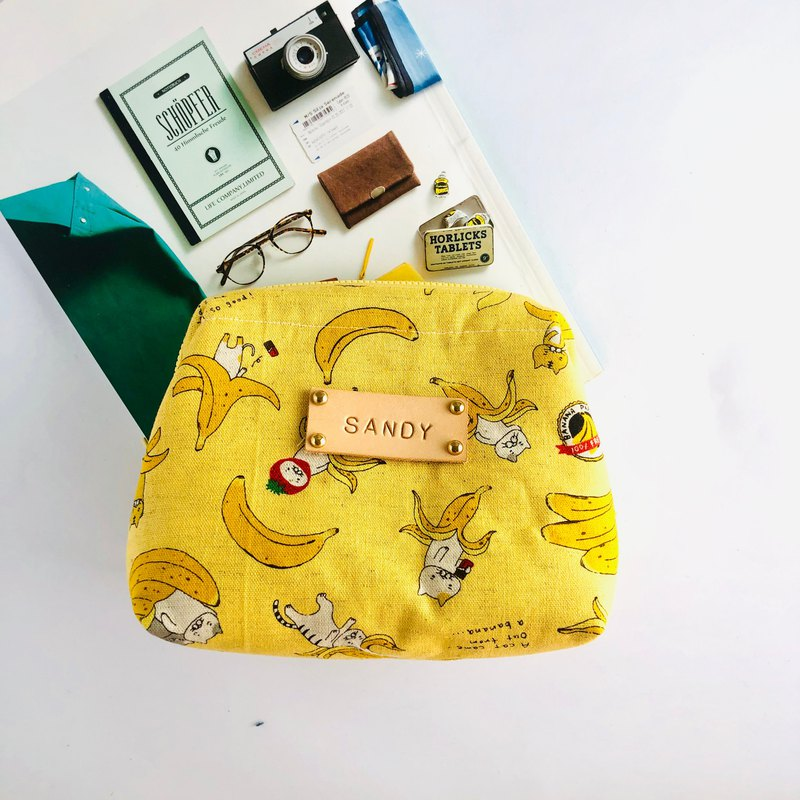 Banana and cat fat mouth gold bag / complimentary free print letter label
