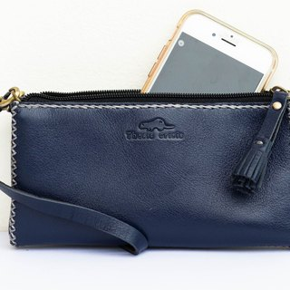 HANDMADE SMALL BAG MADE OF SOFT COW LEATHER FOR YOUR MOBILE PHONE-BLUE/NAVY
