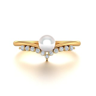 【PurpleMay Jewellery】18k Yellow Gold Akoya Pearl Diamond Crown Ring Band R033