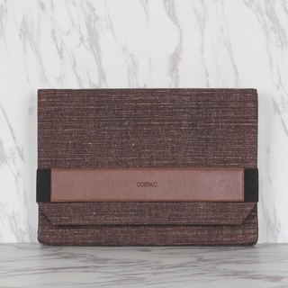 Dark Brown Color Ramie Cotton Large Envelope Clutch