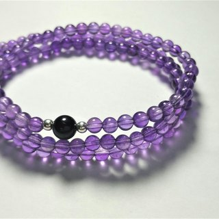 """Natural semi-precious stones"" amethyst three laps sterling silver bracelet"