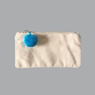 Hair ball white canvas pencil bag / cosmetic bag
