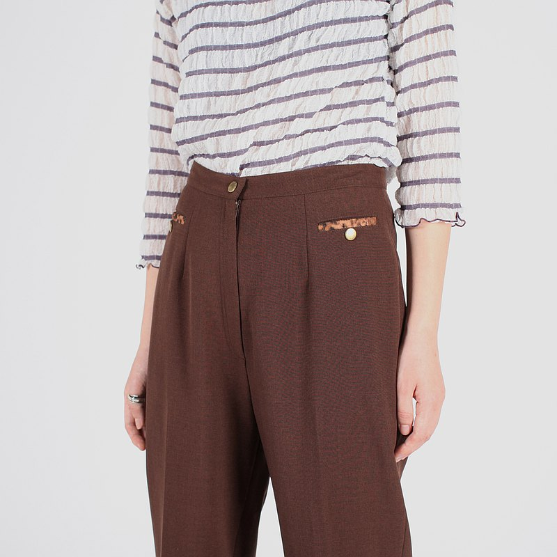 [Egg plant vintage] chocolate cocoa solid color vintage pants