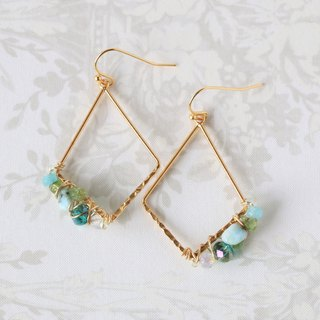 Larimar wire wrapped dangle earrings - 18k gold plated earrings