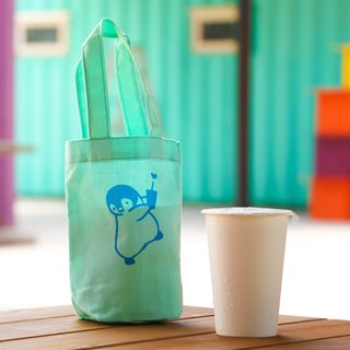 Thirsty small penguin handmade silk canvas bag (Tiffany Green)
