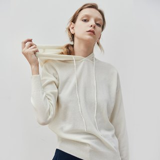Age-receiving white skin delicate 100% cashmere hooded sweater Cashmere hooded university T sweater