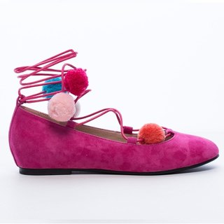 [Saint Landry] LAND colorful pompons strap ballet shoes - red peach