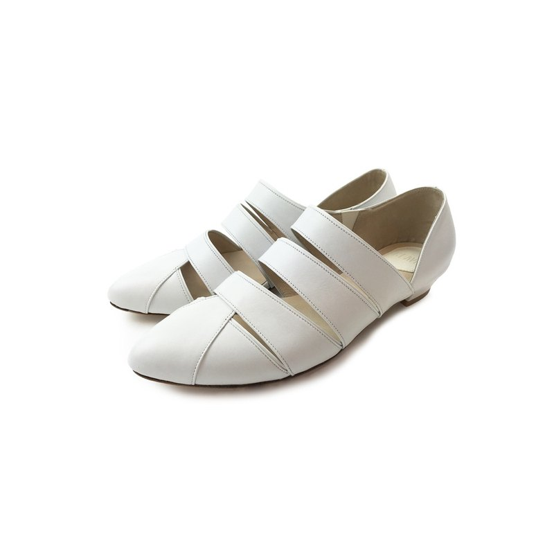 /The Deep/ Pannychia - White Leather Handmade sandals
