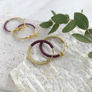 Bicolor silk hoop earrings lime green+mauve