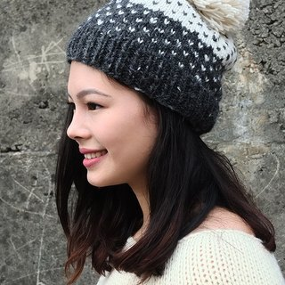 Handmade Hand Knit Wool Beanie Hat with Pompom, Adult Fair Isle Polka Hearts