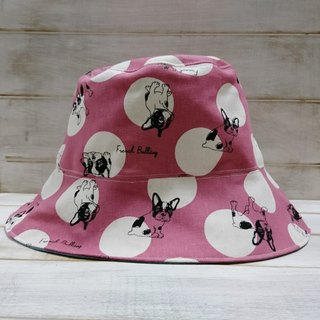Pink dot fighting denim blue double-sided fisherman hat visor