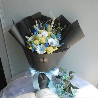 Equinox Time - Yellow Blue Green Hand Hold Dry Bouquet Valentine's Day Graduation Season