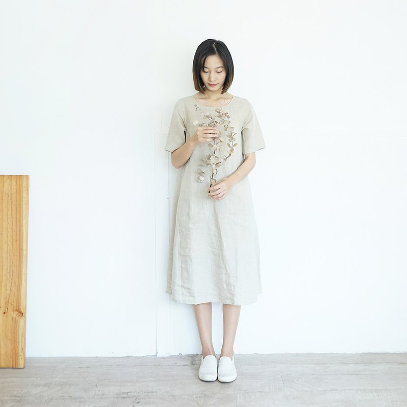 Camellia Dress :  Round Neck Short Sleeve Linen Dresses with Pockets