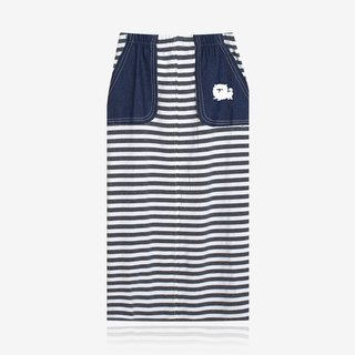 [Last one] angel face white dog - denim pocket striped casual skirt