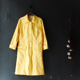 Rivers and mountains - Kagawa bright yellow blue color memory time antique thin windbreaker coat trench_coat dustcoat jacket coat oversize vintage
