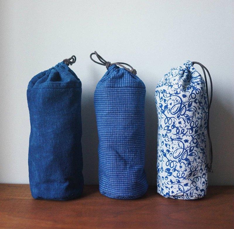 多色 藍色植物染 老印花布 飲料提袋 十字棉布夾棉隨行保溫杯套