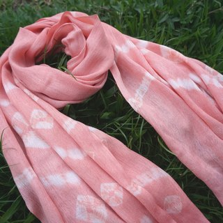 【Mim vegetation dyeing】 madder root dyed pink orange twisted cotton scarf