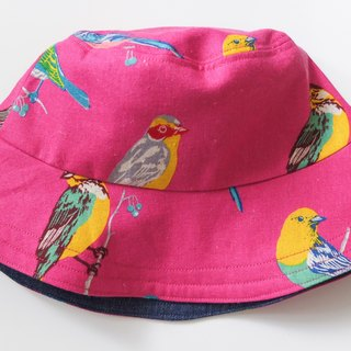 Reversible bucket hat- Painted bunting cotton linen s-m
