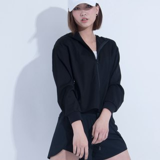 Aine ann / casual V-cut hooded jacket - black