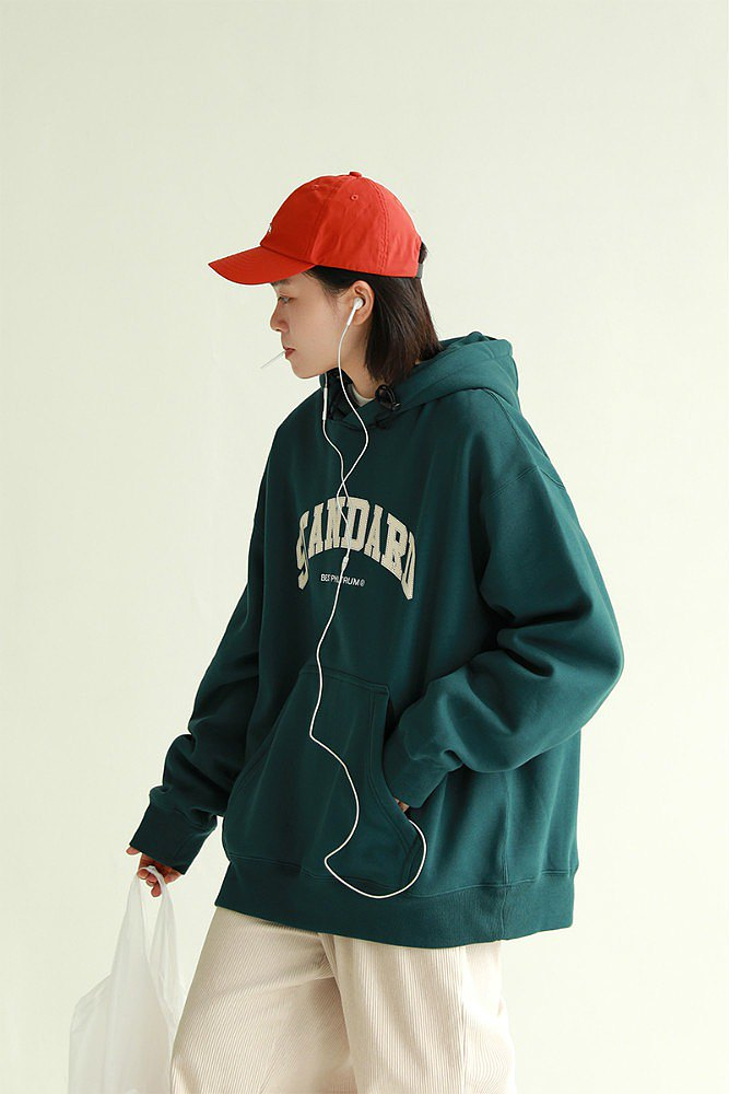 Green 2 colors into the age reduction autumn and winter letter pocket plus fleece hooded sweater neutral loose university T S-2XL