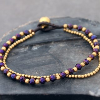 Deep Purple Crystal Faceted Brass Double Strand Bracelet Czech Beads