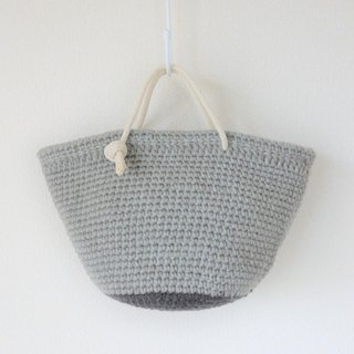 Wool tote bag, handbag, gray