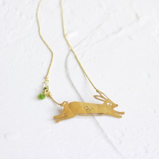 Rabbit hammered brass golden necklace  I Story_The White Rabbit
